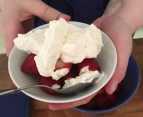 home-made whipped cream and strawberries
